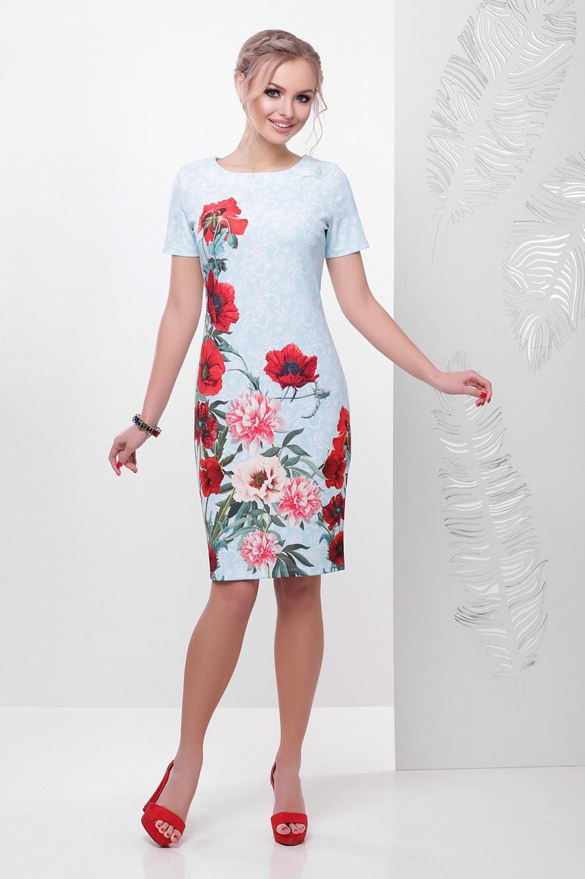 178bb62b476 Красивое летнее платье футляр с короткими рукавами принт Кружево-маки  Мальва к р бирюзовое