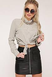 Молодежная черная мини юбка из экокожи с молнией спереди и карманами мод. №35 (кожа)