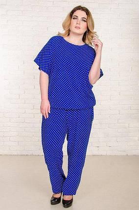 Повседневный синий женский костюм большого размераБали с принтом горох 52-62 р, фото 2