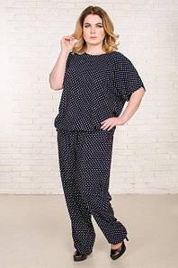 Повседневный женский костюм большого размераБали с принтом горох 52-62 р