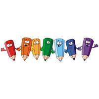 Наклейте вдоль стен в  детской комнате Интересные композиции с изображением веселых карандашей Код: КГ4489