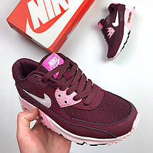 Женские кроссовки Nike Air Max 90 Бордовые, фото 2