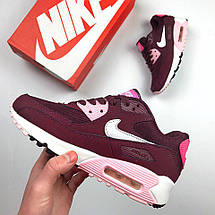 Женские кроссовки Nike Air Max 90 Бордовые, фото 3