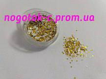 Пайетки для дизайна ногтей золото с белым