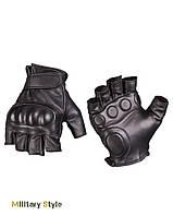 Кожанные тактические безпалые перчатки (Black)