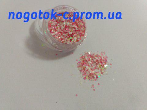 Пайетки для дизайна ногтей розовые с белым