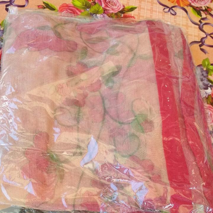 Антимоскитная сетка на магнитах в дверной проем бежевая с цветами 100*210 см