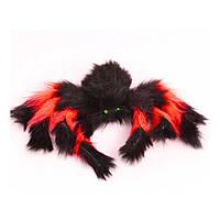 Паук из меха 30см (черный с красным)