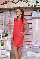 Летнее женское платье короткий рукав короткое красное