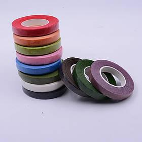 Тейп-лента флористическая, разные цвета (упаковка 12 бобин одного цвета)