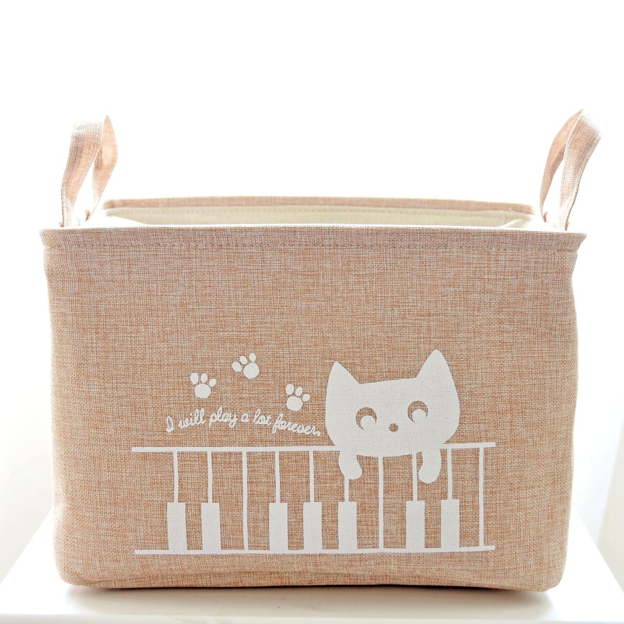 Маленькая бежевая корзина для игрушек на завязках  Кошка на заборе