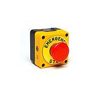 """P1EC400E40K Пост чёрно-жёлтый с аварийной кнопкой """"грибок"""" с табличкой (1НЗ)"""