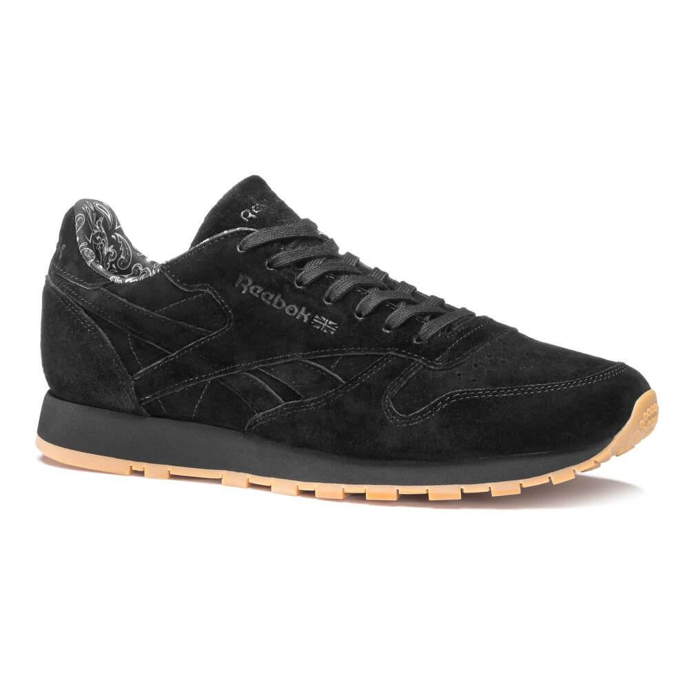 Кроссовки Reebok Classic Leather Paisley Suede Trainers in Black & Gum