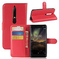 Чехол Nokia 6.1 / Nokia 6 New 2018 книжка PU-Кожа красный