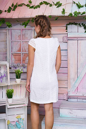Легкое женское платье мини короткий рукав нежно белое, фото 2