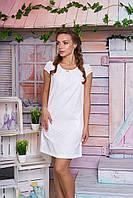 Легкое женское платье мини короткий рукав нежно белое