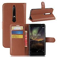 Чехол Nokia 6.1 / Nokia 6 New 2018 книжка PU-Кожа коричневый