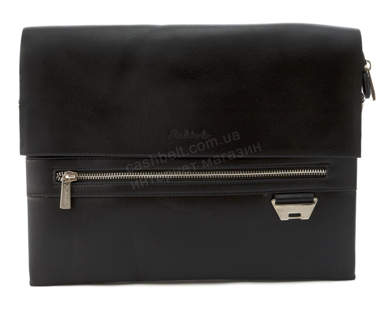 Якісна чоловіча сумка під формат А4 з міцної шкіри PU BALIBOLO art. 3688-6 чорна