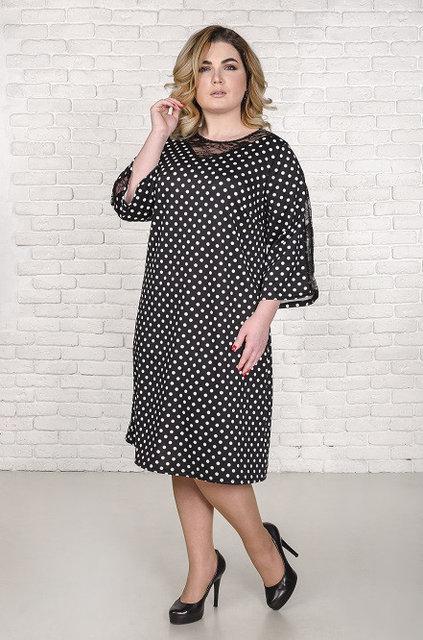 fe5f1fdec19 Трикотажное платье большого размера Янина с принтом горох 52-62 р -  Styleopt.com