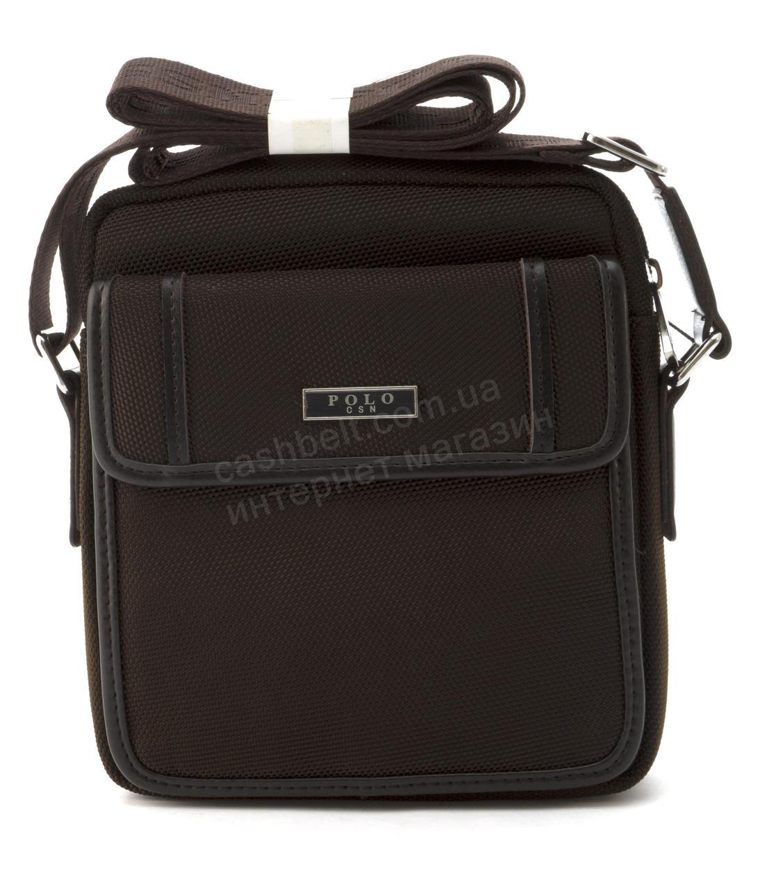 Очень прочная тканевая мужская небольшая наплечная сумка POLO art. 661-2 темно коричневая