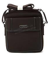 Очень прочная тканевая мужская небольшая наплечная сумка POLO art. 661-2 темно коричневая, фото 1