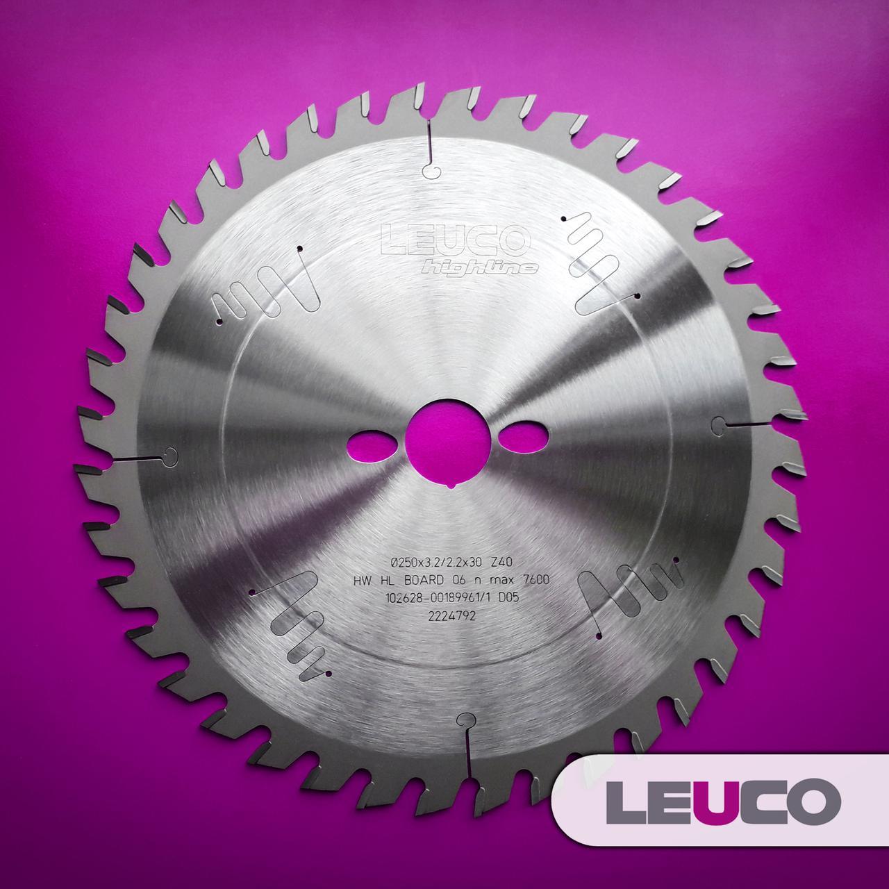 Универсальные дисковые пилы по дереву Leuco для торцовки и продольного реза, 250x3,2x2,2x30 Z=40
