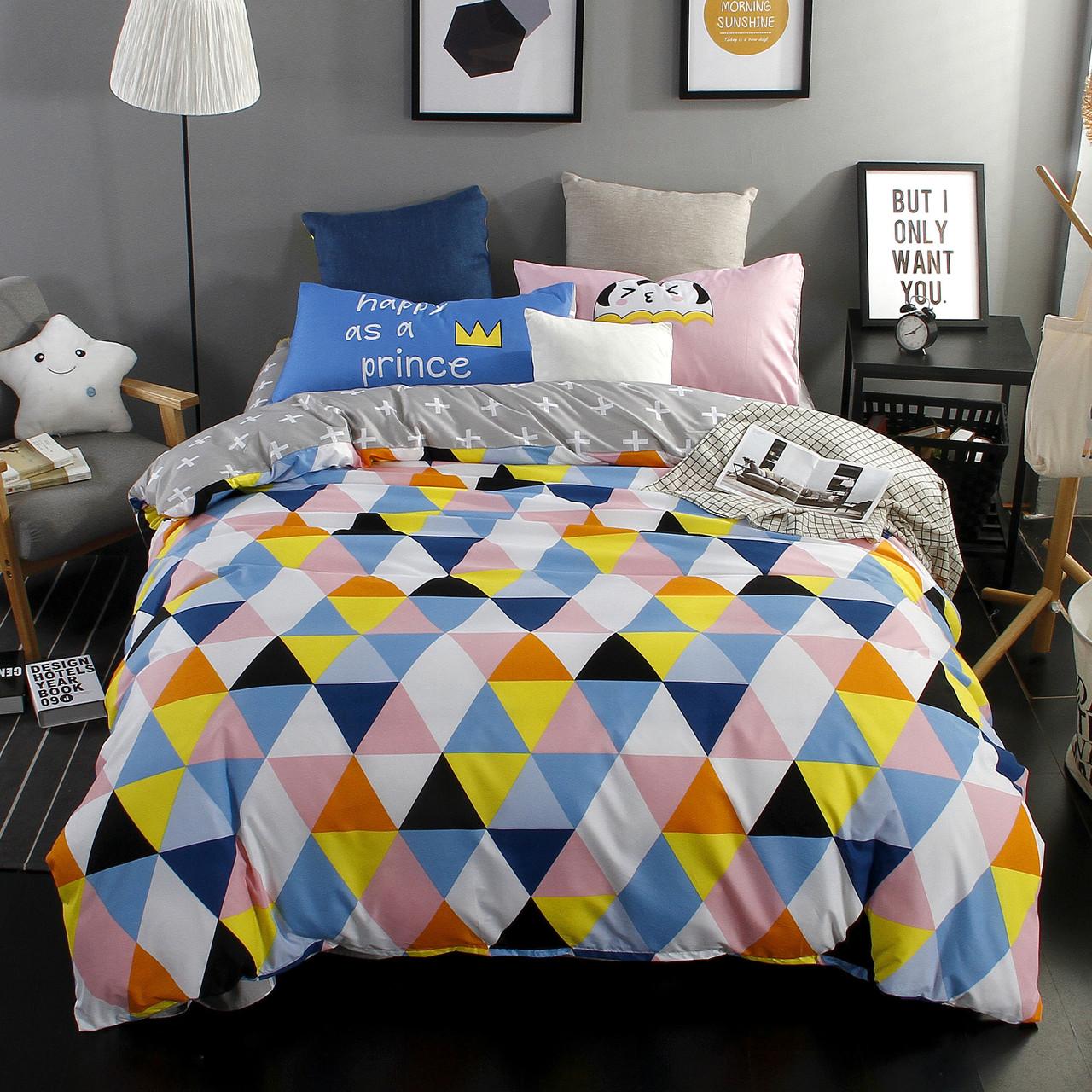 Яркий комплект постельного белья Треугольники (двуспальный-евро)