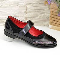 Классические туфли для девочки на липучках, натуральная замша и лак, фото 1