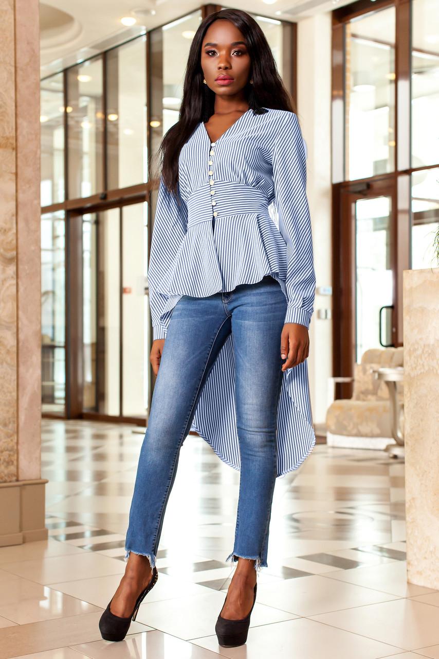 39016dcdcf8 Эффектная Рубашка со Шлейфом в Полоску Синяя S-XL - купить по лучшей ...