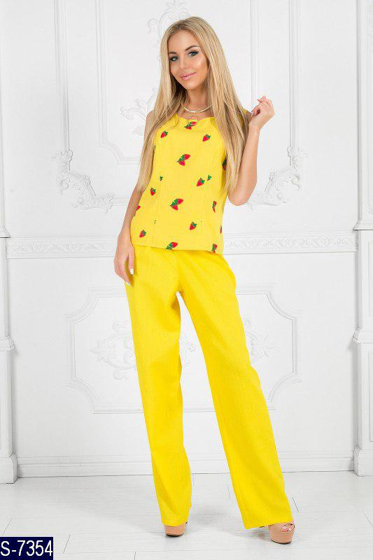 f7007c47a15d Летний женский брючный костюм из льна - купить по лучшей цене в ...