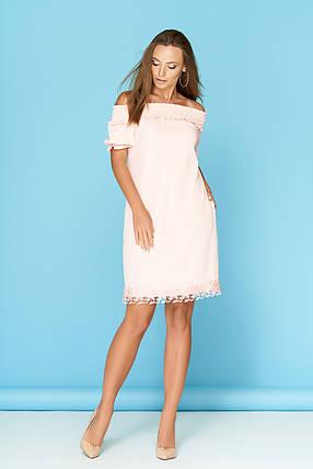 Летнее платье на резинке средней длины светлый персик, фото 2