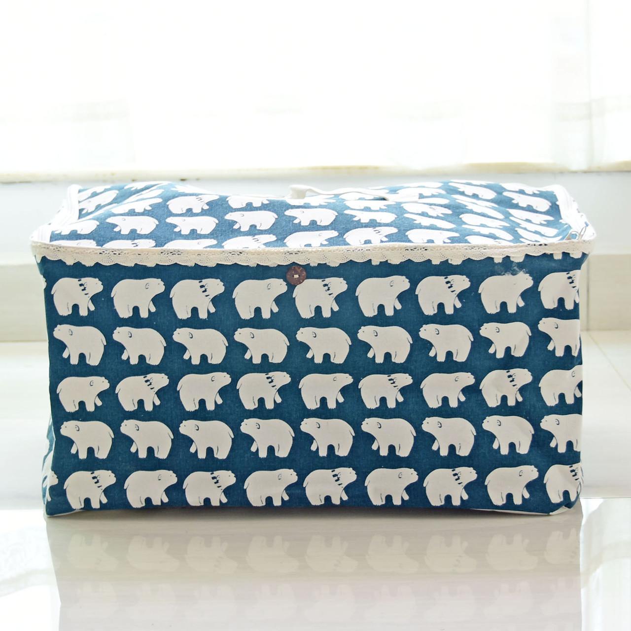 Прямоугольная корзина для детских игрушек с крышкой Белые медведи