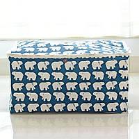 Прямоугольная корзина для детских игрушек с крышкой Белые медведи , фото 1