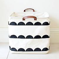 Белая прямоугольная корзина с ручками для детских игрушек , фото 1