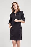 Черное женское платье с оригинальным воротником