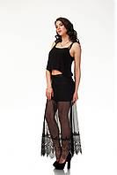Женская юбка макси. Модель Ю095_сетка черная
