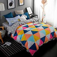 Разноцветный комплект постельного белья  Треугольники (полуторный)  , фото 1
