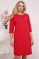 d9f5358cc9a973d Красное деловое платье больших размеров А силуэтное женское из дайвинга  элегантное