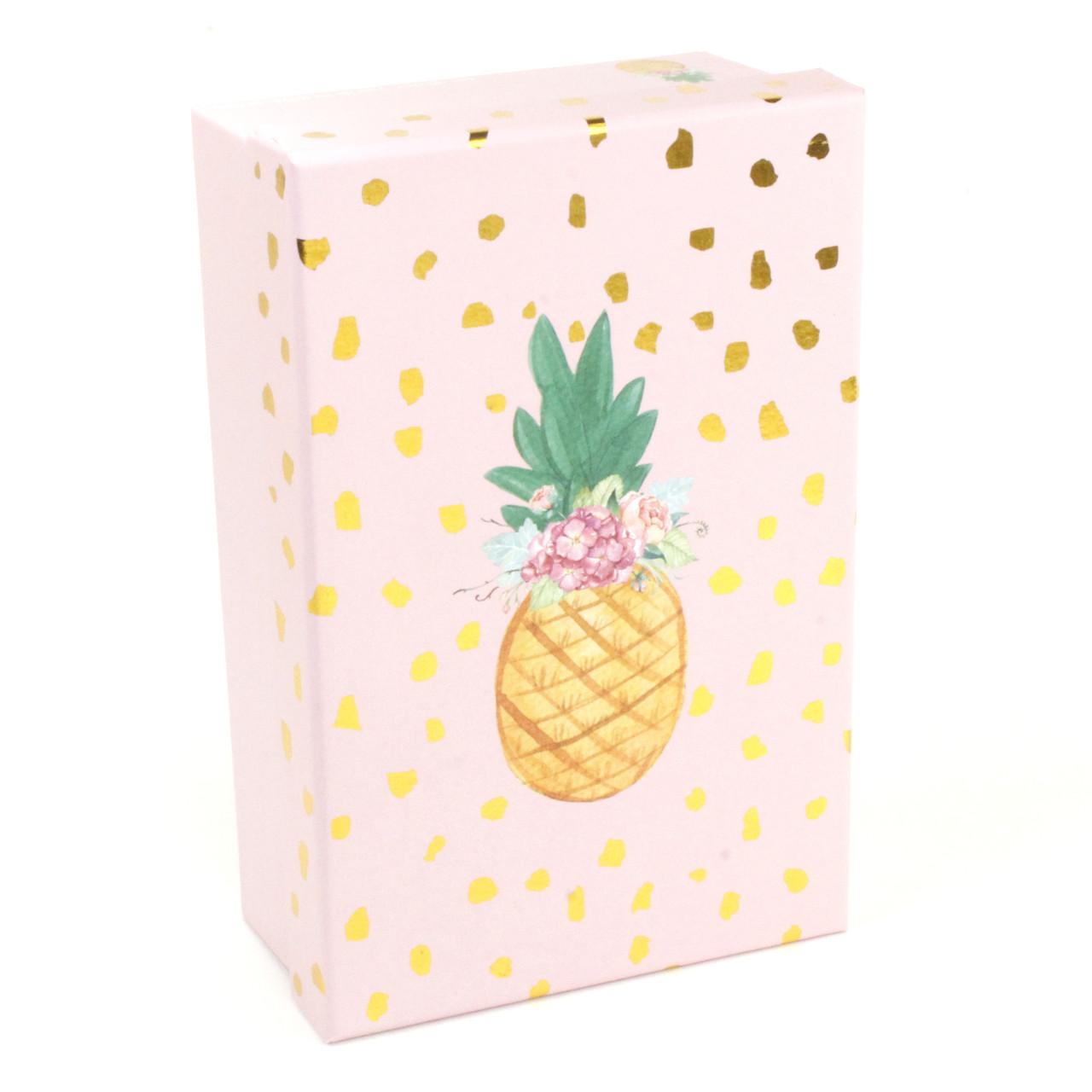 Розовая подарочная коробка Ананасик 17 x 10.5 x 6 см