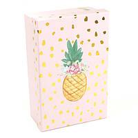 Розовая подарочная коробка Ананасик 17 x 10.5 x 6 см, фото 1