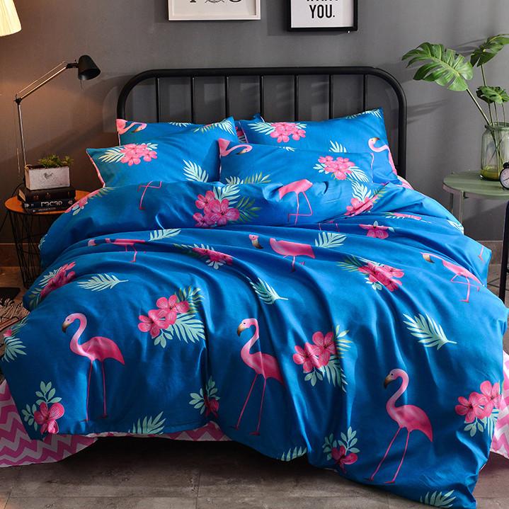 Синий комплект постельного белья  Фламинго с цветами (полуторный)