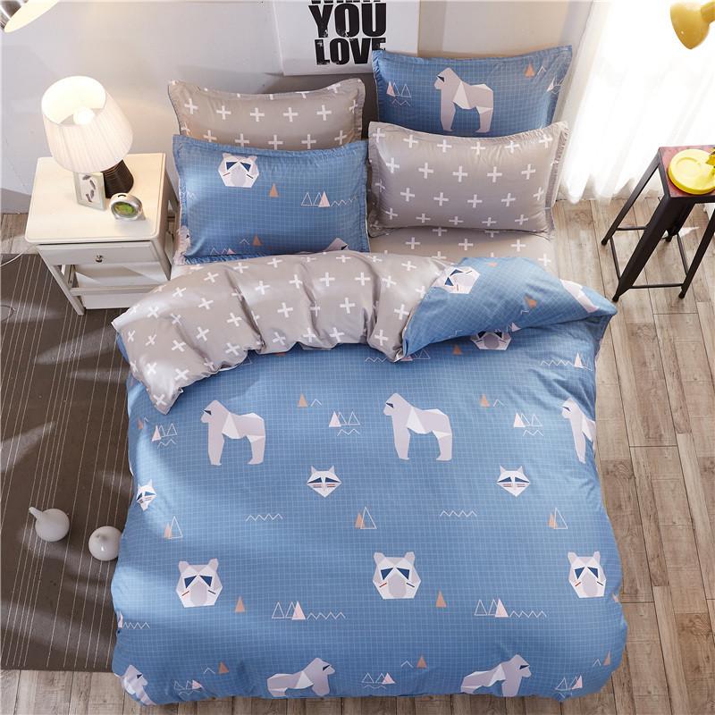 Синее постельное белье Горила (двуспальный-евро)