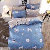Синее постельное белье Горила (двуспальный-евро), фото 1