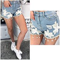 Очень красивые летные джинсовые шорты декорированы аппликацией , фото 1