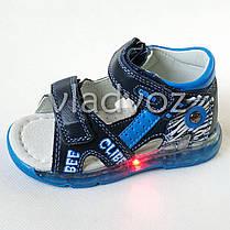 Детские светящиеся босоножки сандалии для мальчика с подсветкой подошвы LED синие Clibee 27р., фото 2