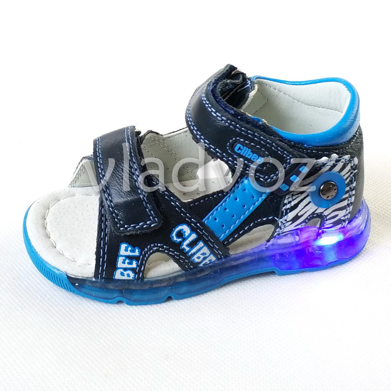Детские светящиеся босоножки сандалии для мальчика с подсветкой подошвы LED синие Clibee 27р.