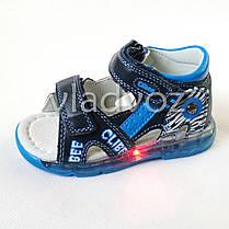 Детские светящиеся босоножки сандалии для мальчика с подсветкой подошвы LED синие Clibee 27р., фото 3