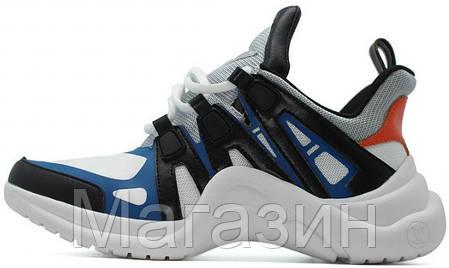 Женские кроссовки Louis Vuitton Archlight White/Black/Blue (Луи Витон) белые, фото 2