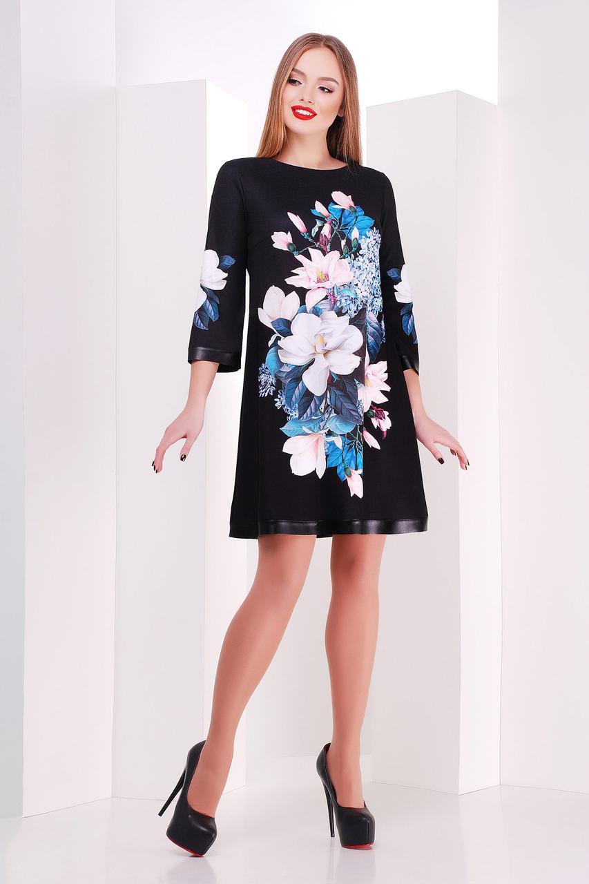 a9e7fc30097 Черное короткое платье трапеция с цветочным рисунком Магнолии Тая-3КК д р -