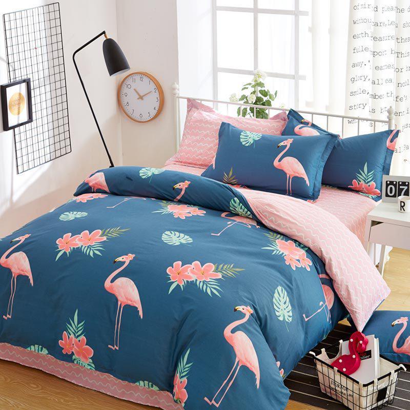 Синий комплект хлопкового постельного белья Фламинго (двуспальный-евро)